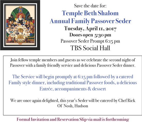 Passover Save The Date 2017