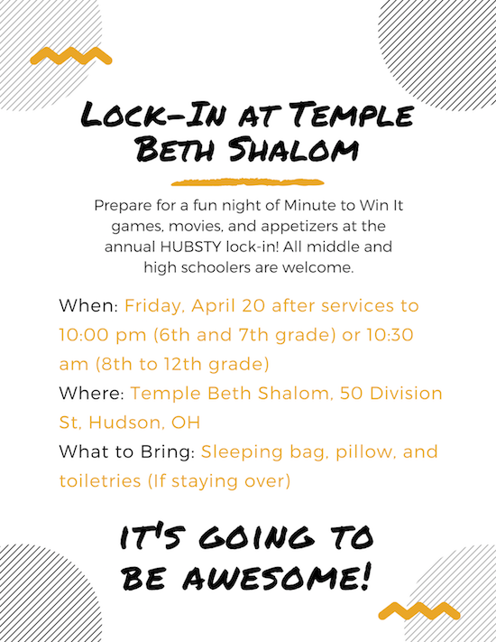 Lock-In at Temple Beth Shalom