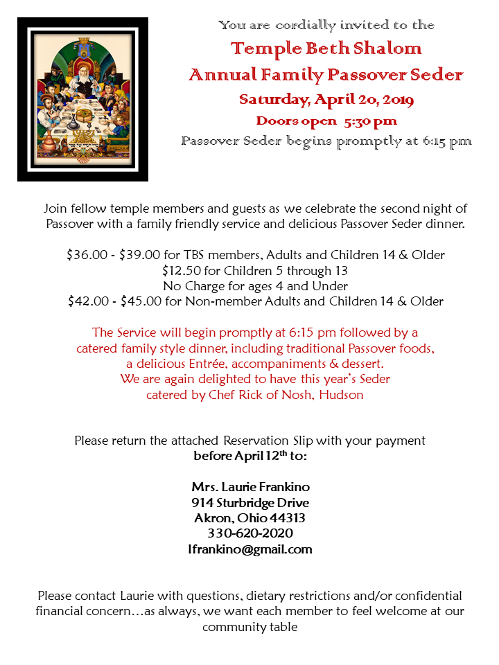 Passover 2019 invitation page 1
